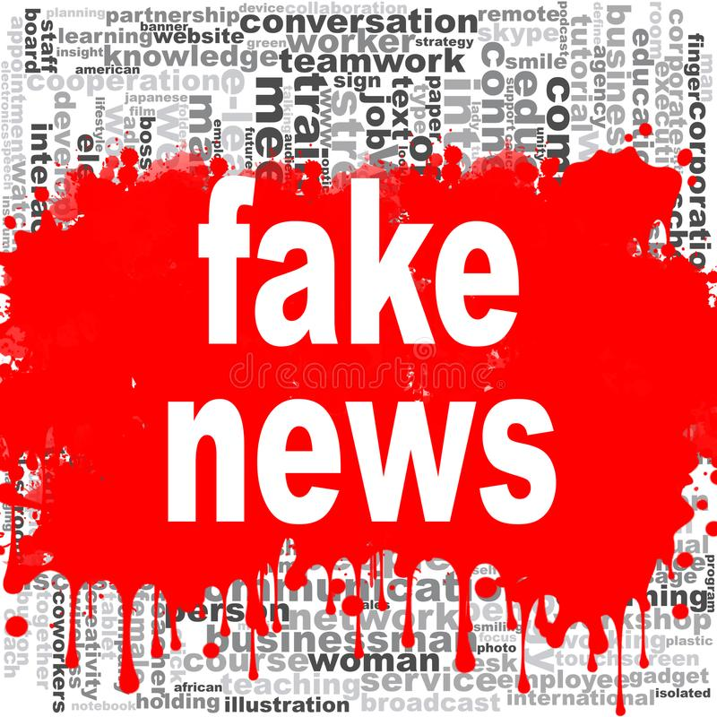 Fake news word cloud stock illustration