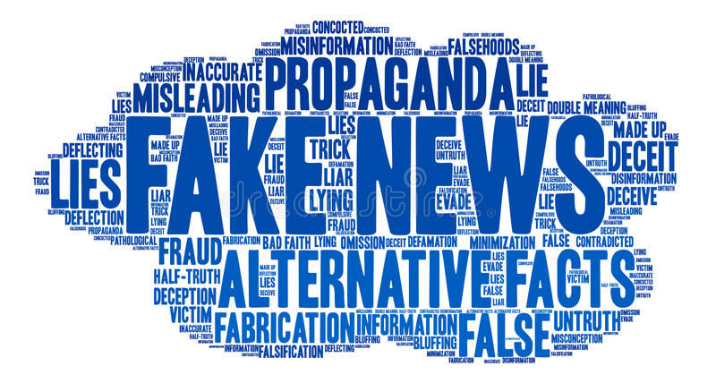 Fake News Word Cloud. On a white background royalty free illustration