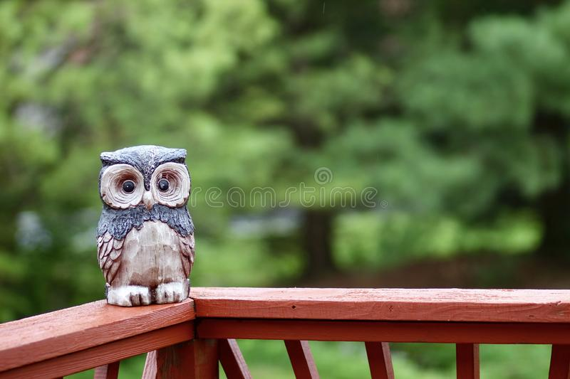 A fake owl decoy sitting on a deck stock images