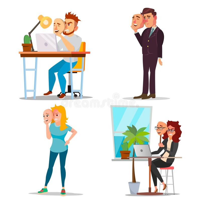Fake Person Set Vector. Bad, Tired Man, Woman. Deceive Concept. Business People Wear Smile Mask. Isolated Flat Cartoon. Illustration vector illustration