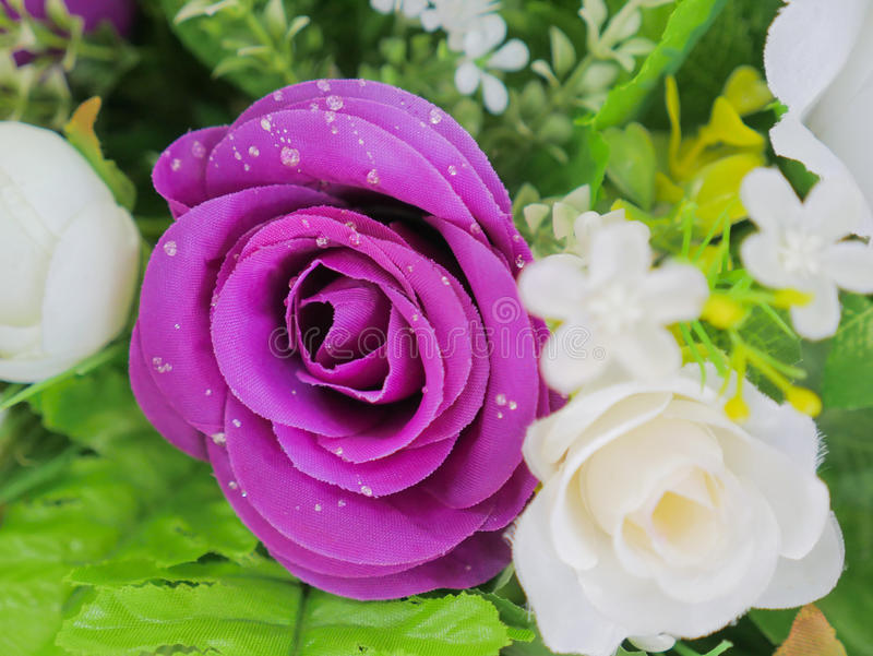 Fake purple rose flowers with artificial water drop. Elegant and beautiful fake purple rose flowers with artificial water drop stock image