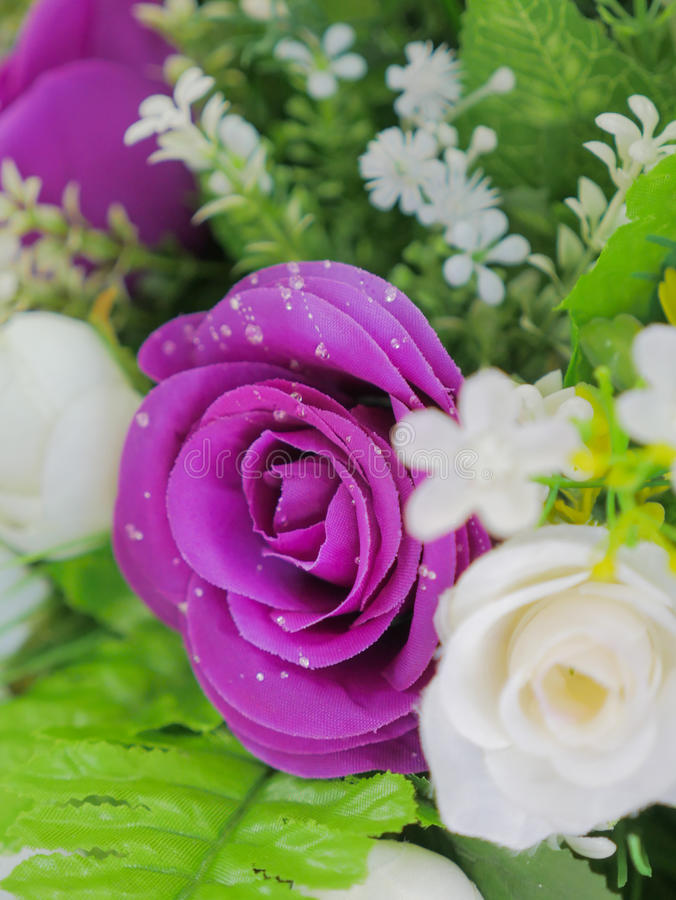 Fake purple rose flowers with artificial water drop. Elegant and beautiful fake purple rose flowers with artificial water drop stock images
