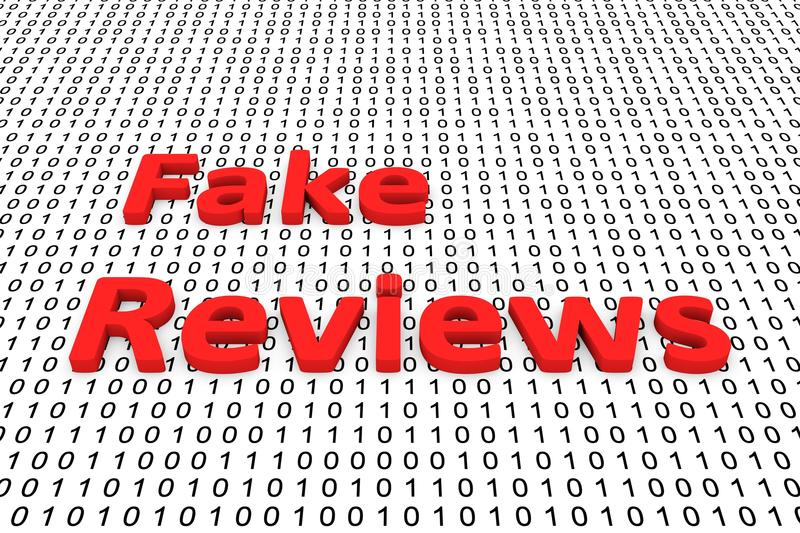 Fake reviews. In the form of binary code, 3D illustration vector illustration