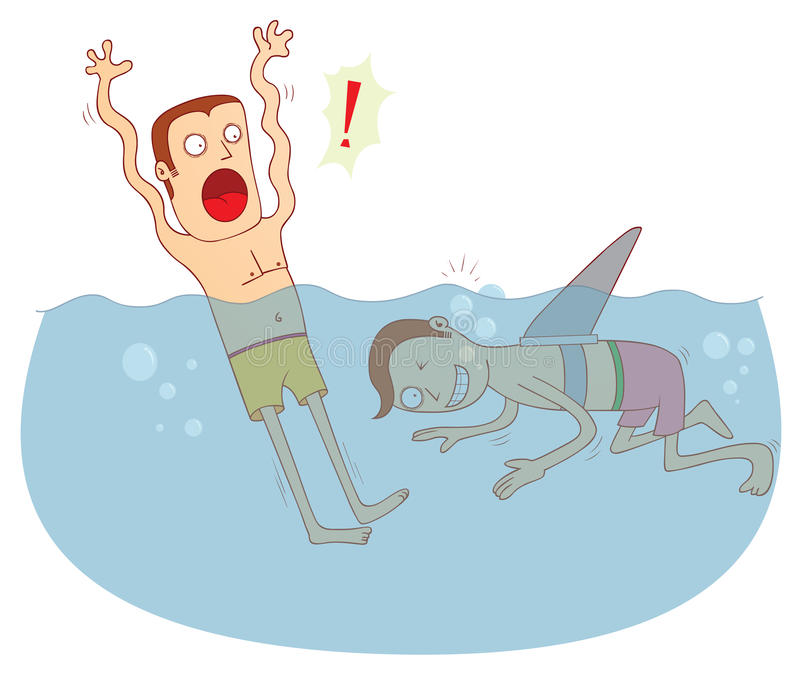 Fake shark. Illustration of a man with a fake shark fin. Available in vector eps 10 file stock illustration