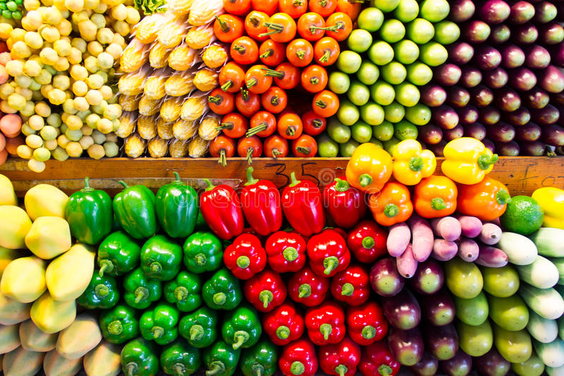 Fake vegetables and fruits stock image