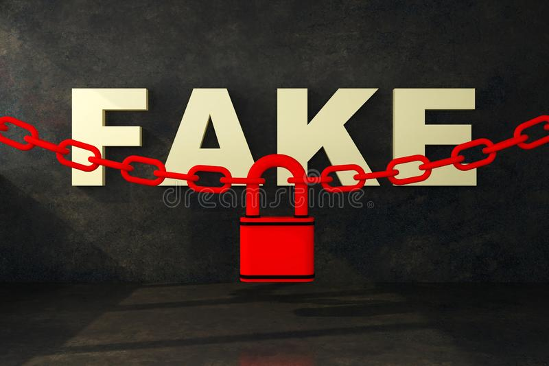 Fake word lock concept royalty free illustration