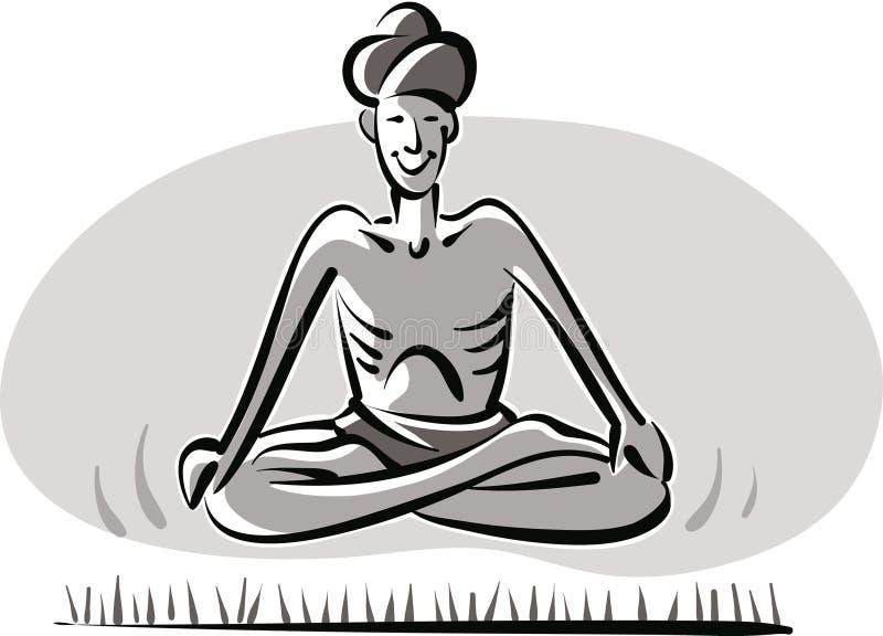 Fakir indien, suspendu au-dessus d'un lit des courrier illustration stock