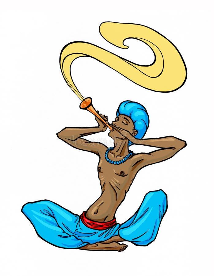 Fakiryogin som spelar flöjten och musiken, flyger ut ur musikinstrumentet royaltyfria bilder