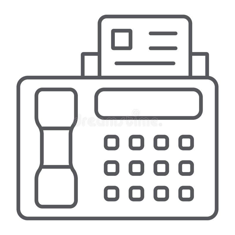 Faks cienka kreskowa ikona, druk i przyrząd, drukarka znak, wektorowe grafika, liniowy wzór na białym tle ilustracji