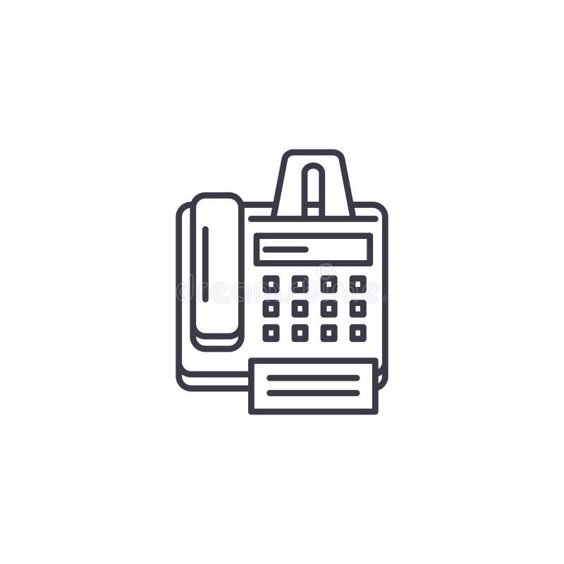 Faks drukarki ikony maszynowy liniowy pojęcie Faks drukarki maszyny linii wektoru znak, symbol, ilustracja ilustracja wektor