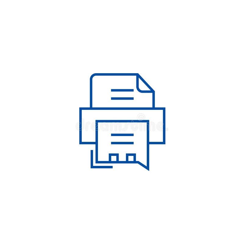 Faks drukarki linii ikony pojęcie Przesyła faksem drukarce płaskiego wektorowego symbol, podpisuje, zarysowywa, ilustrację royalty ilustracja