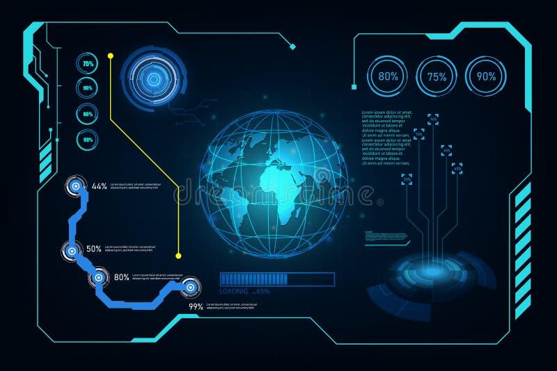 Faktisk desi för abstrakt för huduigui framtida futuristiskt system för skärm royaltyfri illustrationer