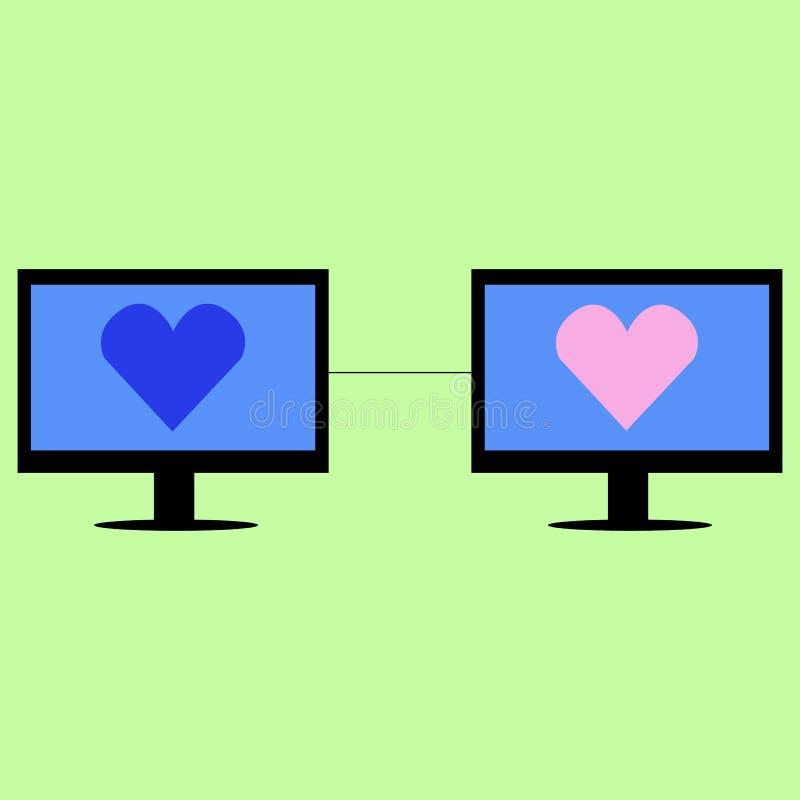 Faktisk förälskelse i plan stil royaltyfri illustrationer