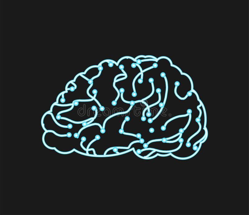 Faktisk hjärna Neurons och nerv- nätverk digital tänkt tran royaltyfri illustrationer