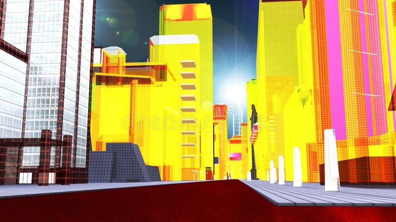Faktisk metropolis stock illustrationer