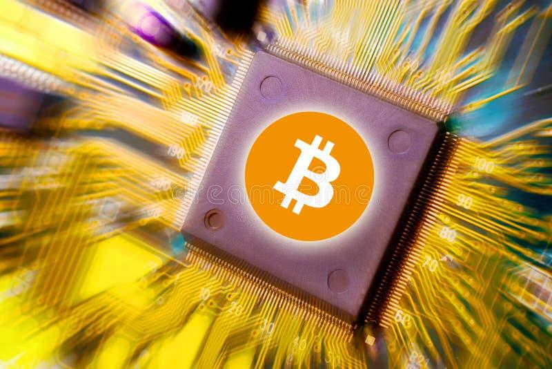 Faktisk pengarBitcoin cryptocurrency - Bitcoins som här accepteras arkivfoto