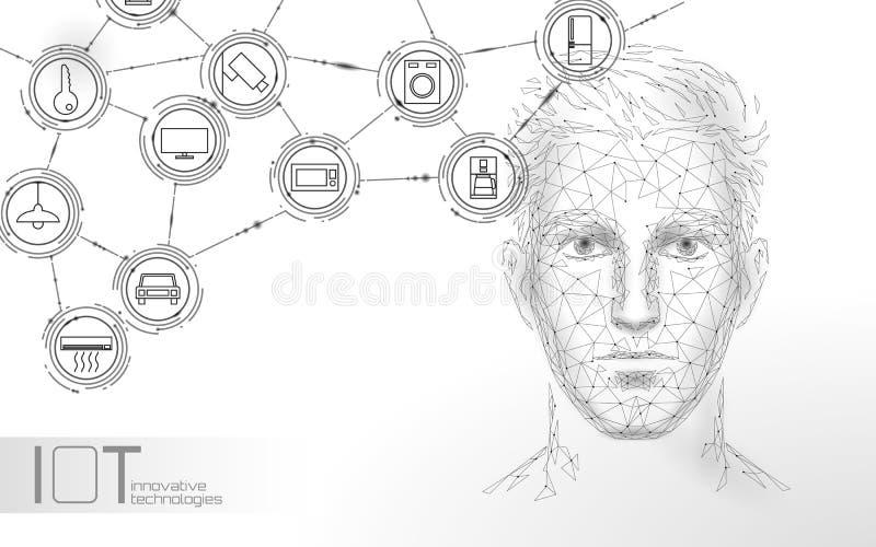 Faktisk teknologi f?r service f?r assistentst?mmaerk?nnande r Chatbot manlig manframsida royaltyfri illustrationer