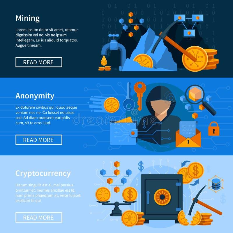 Faktisk uppsättning för baner för valutalägenhetstil stock illustrationer