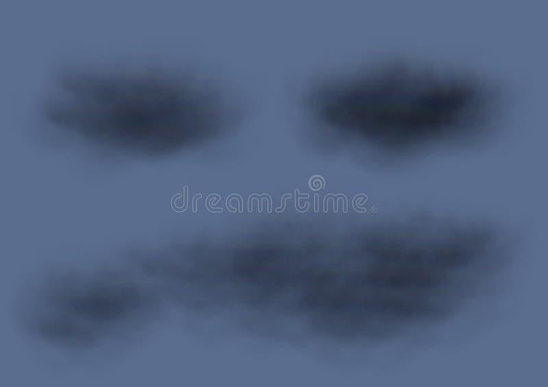 Faktiska vektorer för svart moln som isoleras på mörkt - blå bakgrund, fluffiga moln som orsakar regnstormar på himlen vektor illustrationer