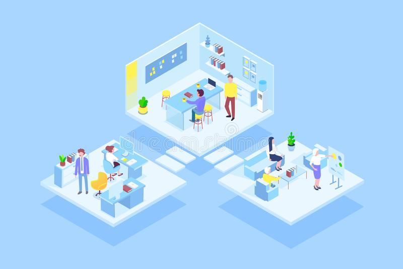 Faktiskt coworking kontor med laget för affärsfolk som tillsammans arbetar Affärsledning, online-kommunikation och royaltyfri illustrationer
