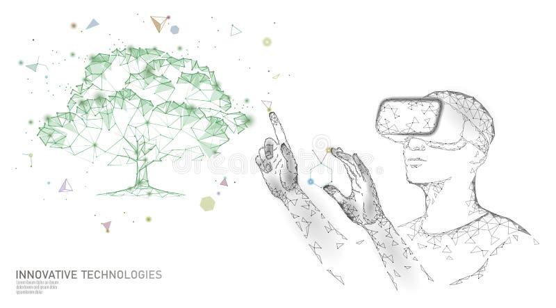 Faktiskt digitalt begrepp för bioteknikträdteknik 3D framför för verklighetvitaminet för VR hjälmen ökade tillägget royaltyfri illustrationer