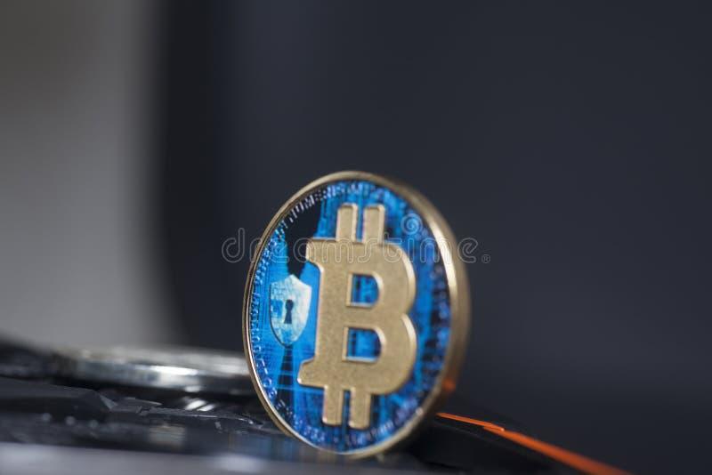Faktiskt mynt för blå bitcoin royaltyfri foto