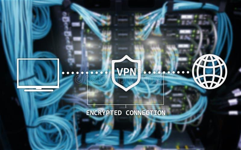 Faktiskt privat nätverk, VPN, datakryptering, IP-ersättning royaltyfri foto