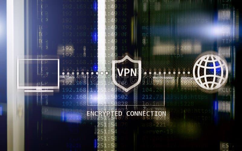 Faktiskt privat nätverk, VPN datakryptering, IP-ersättning royaltyfri foto
