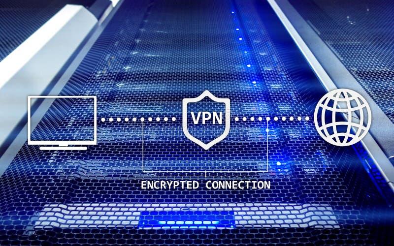 Faktiskt privat nätverk, VPN, datakryptering, IP-ersättning stock illustrationer