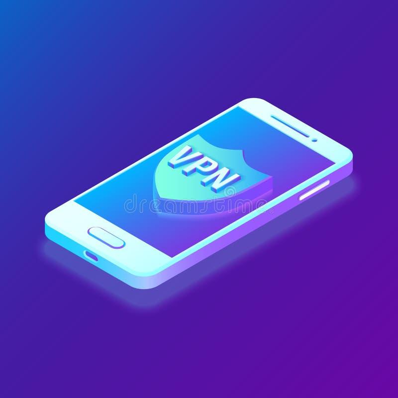Faktiskt privat nätverk, VPN, datakryptering, IP-ersättning Smartphone vith säkerhetssköld Cybersäkerhet och stock illustrationer