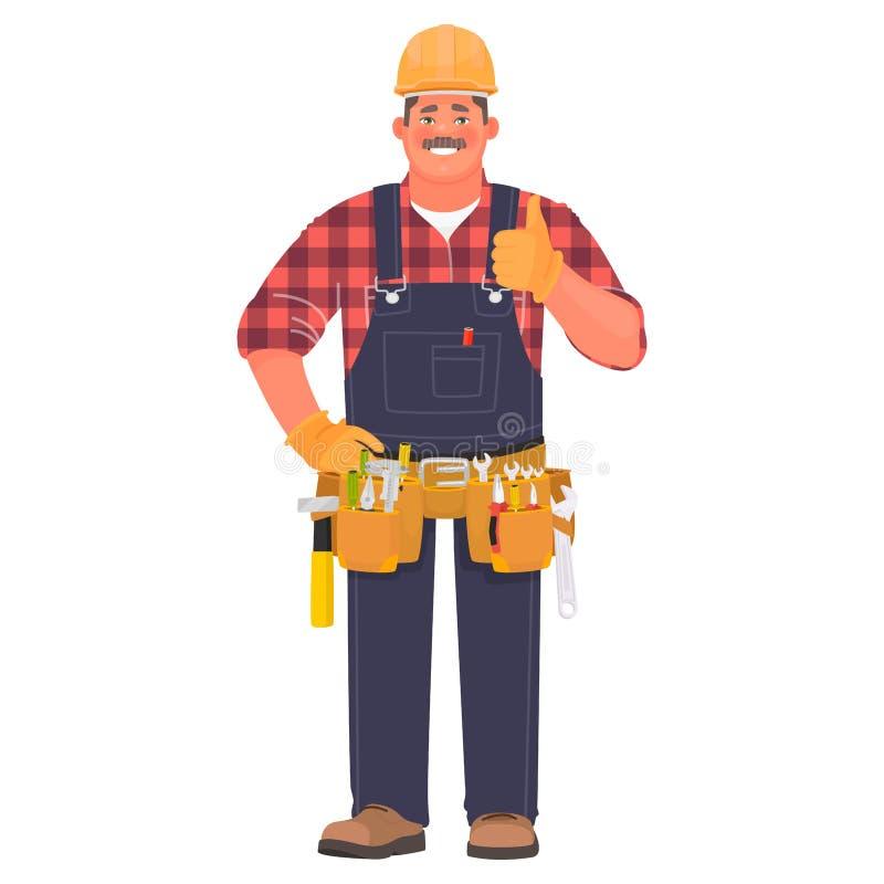 Faktotum eller byggmästare En man i en konstruktionshjälm och med hjälpmedel visar en kall gest isolerad tum f?r bakgrund black u royaltyfri illustrationer