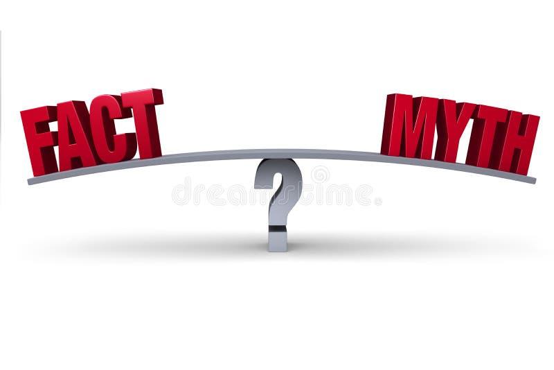 Faktum eller myt? vektor illustrationer