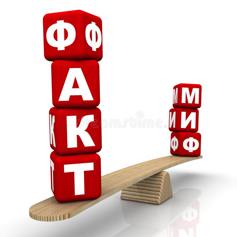 FAKTUM eller MYT? Jämförelse på vågen stock illustrationer