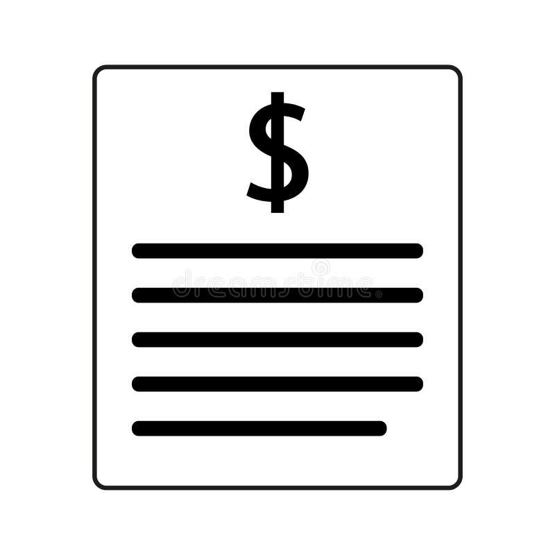 Fakturalinje symbol Betalning- och r?kningfaktura Best?llningssymbolbegrepp Skattteckendesign Pappers- bankdokumentsymbol Vektorf stock illustrationer