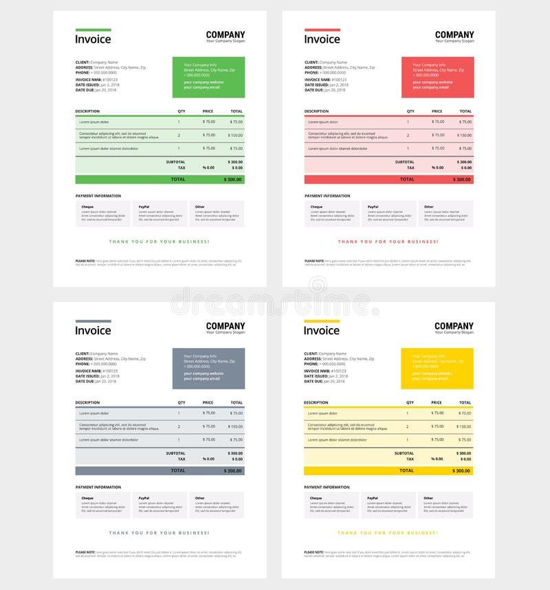 Fakturowy projekta szablon ustawia zielenieje, - biznesowa firma - royalty ilustracja