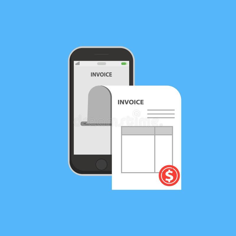 Fakturowy rachunek w smartphone pojęciu Ilustracja, mieszkanie stylowy telefon komórkowy z fakturowym rachunku papierem, pojęcie  ilustracja wektor