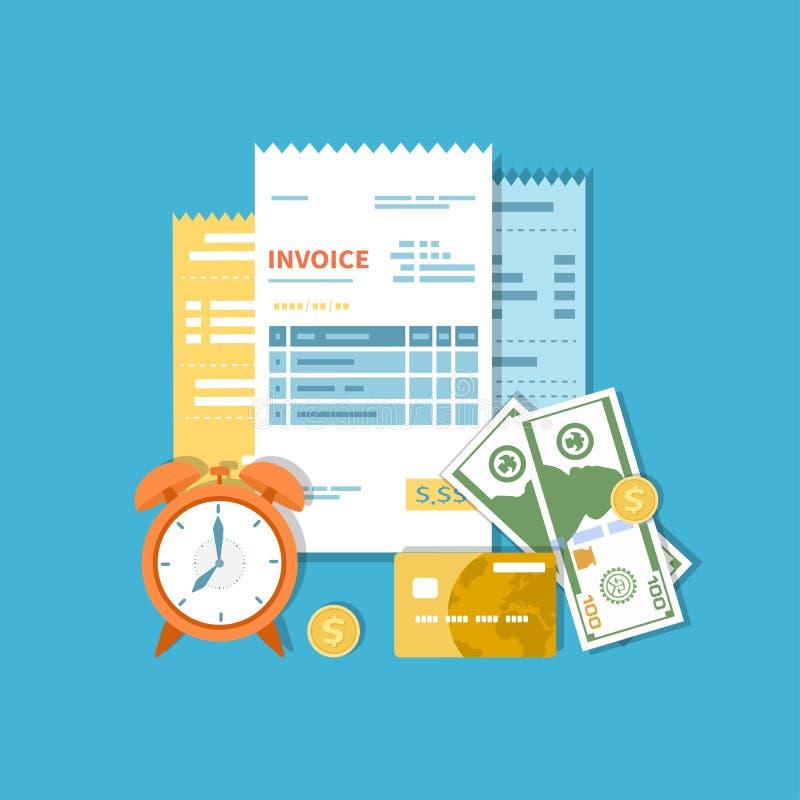 Faktury, konta, czeki z pieniądze i zegar, Zapłaty, fakturowania, biznesowych i pieniężnych operacje, podpisują ilustracja wektor