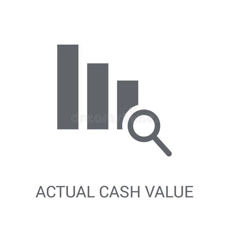Faktyczna Gotówkowej wartości ikona Modny Faktyczny Gotówkowej wartości logo pojęcie dalej royalty ilustracja