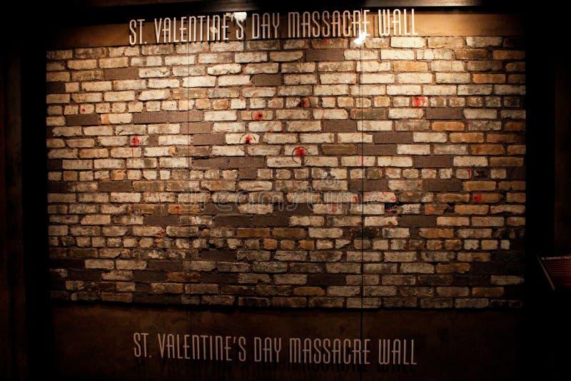 Faktyczna St. walentynki dnia masakry ściana obraz stock