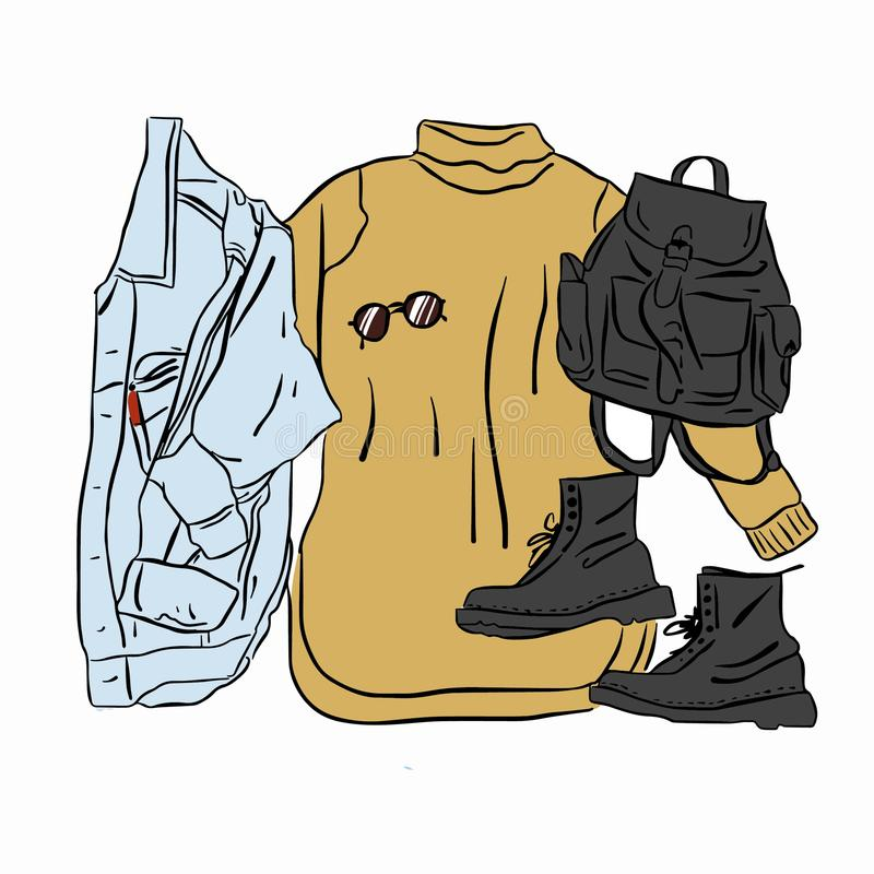 Faktyczny wektorowy rysunkowy wiosny jesieni spojrzenie Uliczna odzież ustawiająca dziająca suknia, cajgi kurtka, buty, plecak, s royalty ilustracja