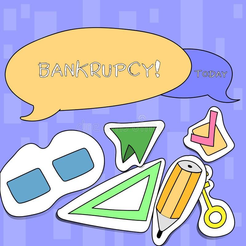 Falência da escrita do texto da escrita A empresa do significado do conceito sob a crise financeira vai falido com vendas de dimi ilustração do vetor
