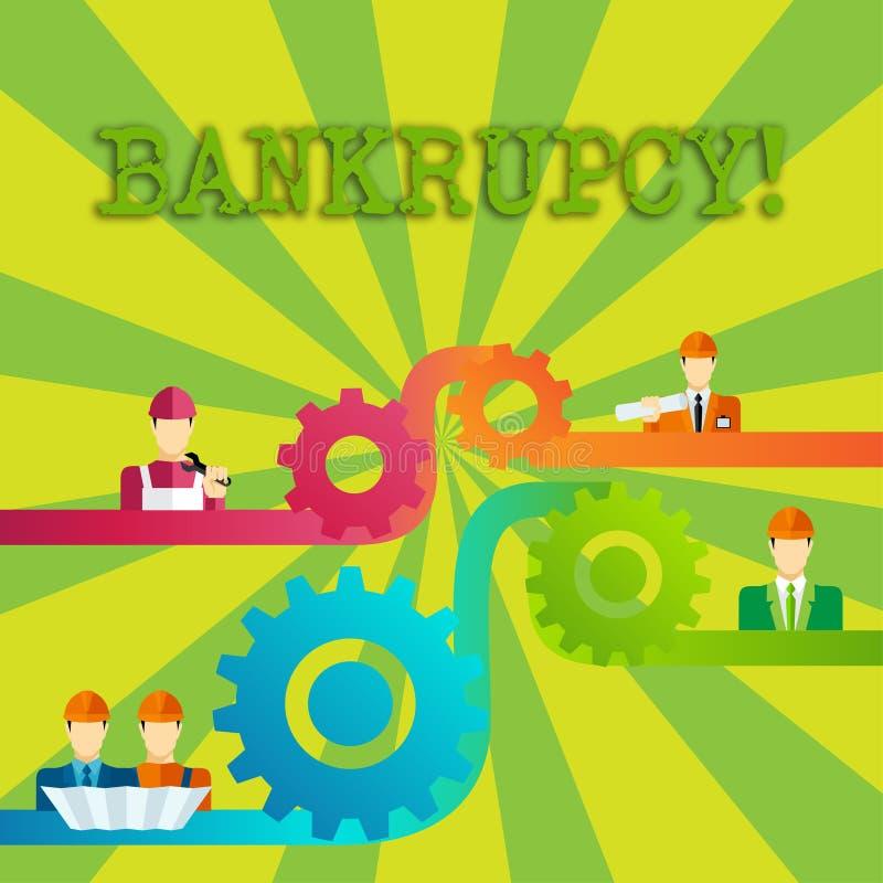 Falência do texto da escrita da palavra O conceito do negócio para a empresa sob a crise financeira vai falido com a roda dentead ilustração royalty free