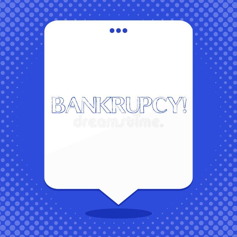 Falência do texto da escrita da palavra O conceito do negócio para a empresa sob a crise financeira vai falido com vendas de dimi ilustração royalty free