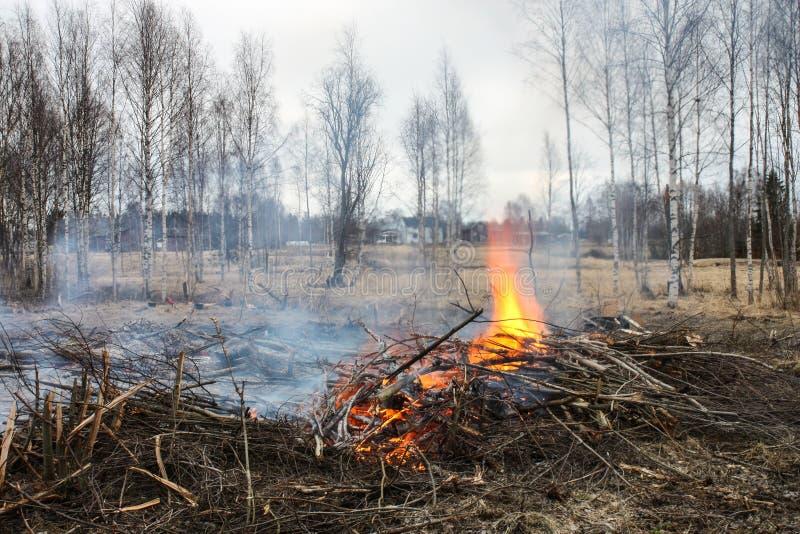 Falò durante il giorno prima della notte di Walpurgis, 30 di aprile, la Svezia fotografia stock libera da diritti