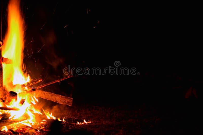 Falò su una priorità bassa scura Il bello fuoco fiammeggia con lo spazio della copia sul nero Legno bruciante alla notte fotografie stock libere da diritti