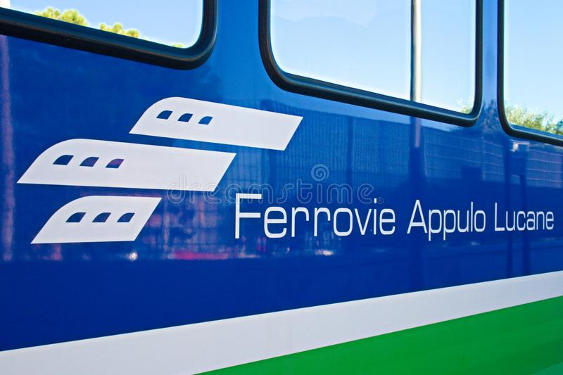 FAL, Ferrovie Appulo Lucane, Italian railway network, trains connecting Bari, Puglia to Matera, Basilicata. Via Altamura and Gravina and the park of Murgia royalty free stock photos