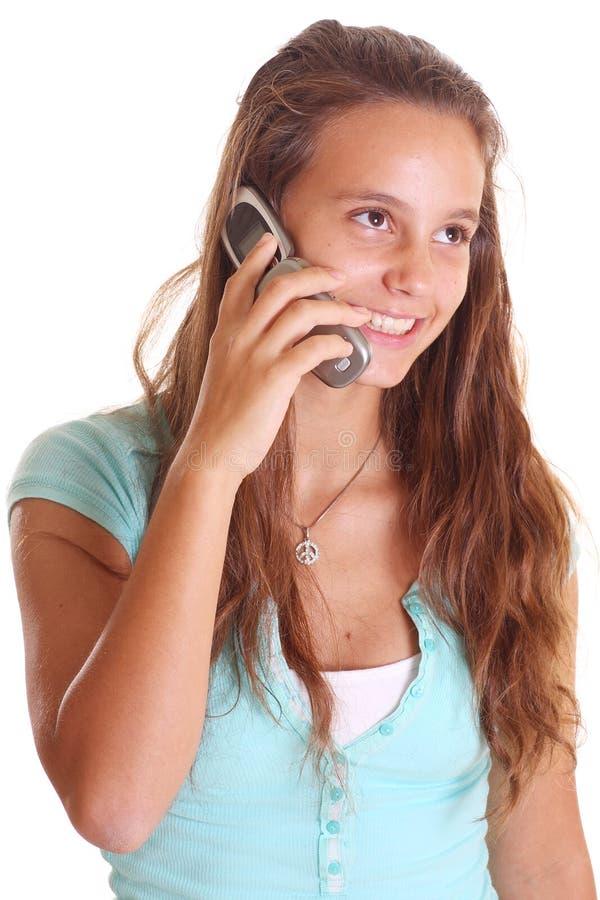 Fala adolescente no telefone de pilha foto de stock royalty free