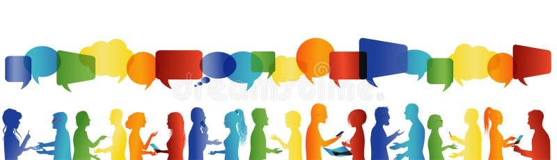 Fala da multid?o Uma comunica??o grande grupo de pessoas que fala Comunique trabalhos em rede sociais Povos do di?logo ilustração royalty free