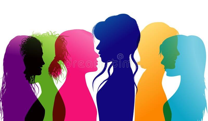 Fala das mulheres Diálogo entre mulheres Conversação entre mulheres Perfis coloridos da silhueta Exposição múltipla ilustração do vetor