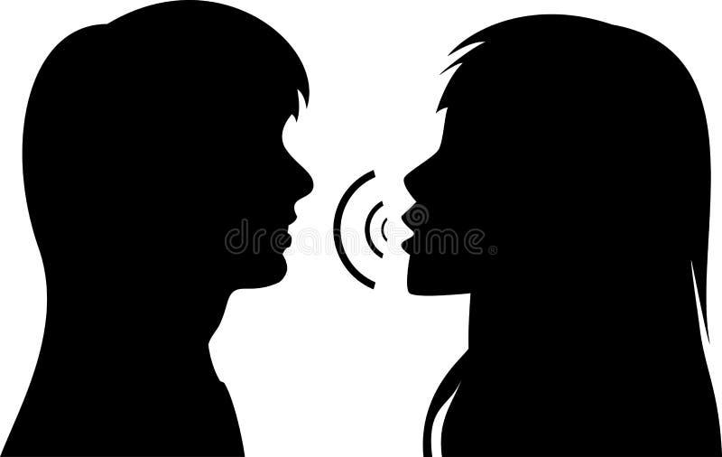 Fala de duas mulheres novas ilustração do vetor